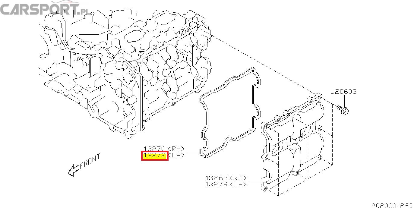 Uszczelka pokrywy zaworów lewa subaru brz wrx Toyota GT86 FA20