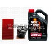 Pakiet olejowy Motul 5w40 8100 X-Clean + filtry KNECHT